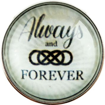 Chunk Snap Charm Always and Forever Double Infinity Glass Cover 20mm