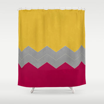 Magenta, Butter and Grey Chevron Shower Curtain by Kat Mun