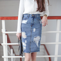 3XL Plus Size Denim Skirt Women  Autumn/Winter Vintage Ripped Denim Skirt Slim Office Skirt Sexy Pencil Skirt Women Jeans