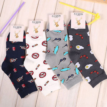 Cartoon Print Socks(1-Pair)
