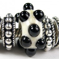 Ivory Large Hole Bead With Raised Black Dots lhb276064rd, Handmade Lampwork Glass Bead, Slider Bracelet Bead (Choices of Shiny or Etched))