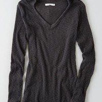 AEO Women's Ribbed Pullover Hoodie