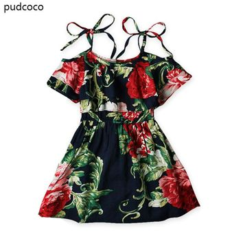 Boho Baby Girls Off shoulder Strap Dress Kids Floral Summer Ruffles Party Mini Beach Dresses Clothes 2-7 Year