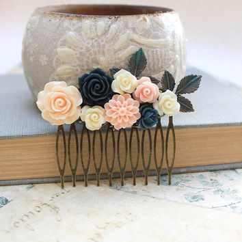 Flower Hair Comb Navy Blue Rose Floral Collage Wedding Hair Accessories Branch Patina Leaves Peach Rose Dahlia Chrysanthemum