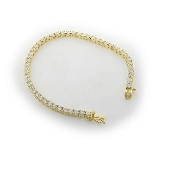 3mm Square-cut Cubic Zirconia Tennis Bracelet in Gold Plated Sterling Silver