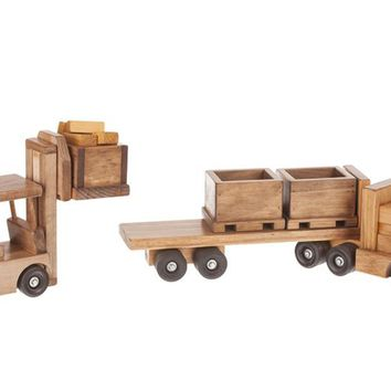 Wooden Cargo Truck w/ Wooden Fork Lift - w/ 3 skids Toys for Kids