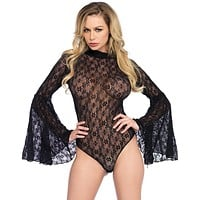 Lace Sheer Bell Sleeve Bodysuit