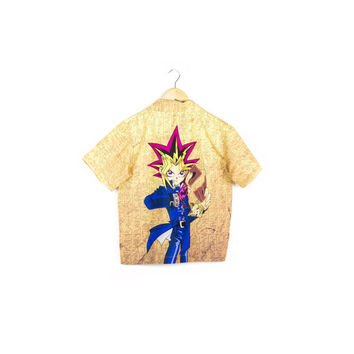 YU-GI-OH! shirt / mens small / button down yugioh / anime / young lean / hieroglyphics / egypt / Yugi Mutou / egypt / kawaii / vaporwave