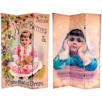 Oriental Furniture CAN-TOOTH Six Ft. Tall Double Sided Vintage Children Canvas Room Divider, Width - 48 Inches