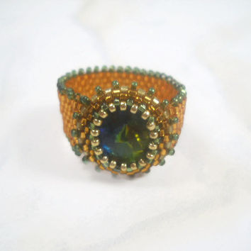 Gemstone Ring Beadwoven Ring