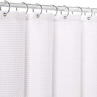 Carnation Home Fashions Fabric 70-Inch by 72-Inch Shower Curtain Liner, White