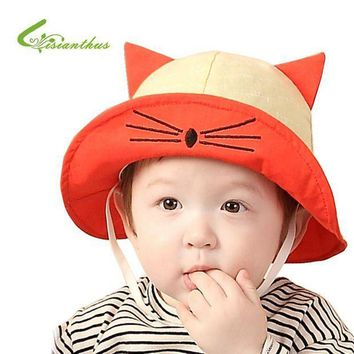 PEAP78W New Arrival Baby Sun Hat Cat Cap Child Photography Prop Spring Summer Outdoor Wide Brim Kids Baby Girl Boy Hat Beach Bucket Hat