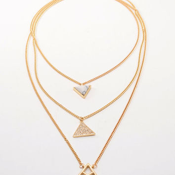 Gold Rhinestone Triangle Pendant Multirow Necklace