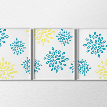 Floral Bursts, Floral Art, Bathroom Art, 3 Set Art Print, Aqua and Yellow, Baby Nursery Decor, Floral Decor, Flower Art, Bedroom Decor