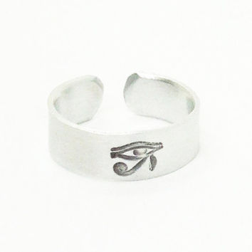 The Eye of Horus ring - the Eye of Ra ring - Egyptian symbol ring - Egyptian protective jewelry - Stamped ring - Metal ring