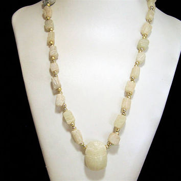 Egyptian Revival Carved Scarab Necklace, Cream Colored Stone, 23 Inches, Gold Tone Beetle Beads, Vintage Jewelry 817