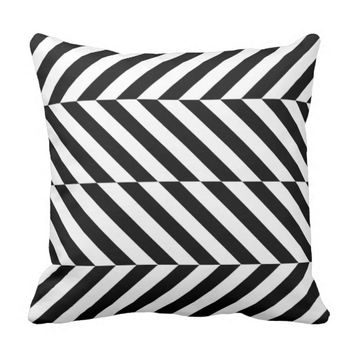 Black & White Diagonal Zig Zag Striped Pillow