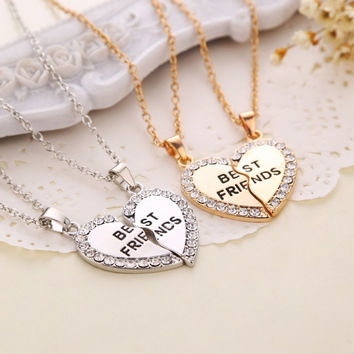 Charming matching heart-shaped pendant necklace best friend a letter Women gifts 2 color to choose jewelry -Christmas Gift