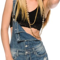 Almost Famous Button Front Distressed Overall Shorts