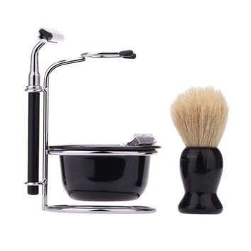 Men's Stainless Steel Razor Set with Stand Holder