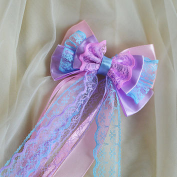 Hair bow - pastel blue pink and lavender purple - fairy kei decora lolita harajuku romantic victorian princess fashion kawaii costume prop