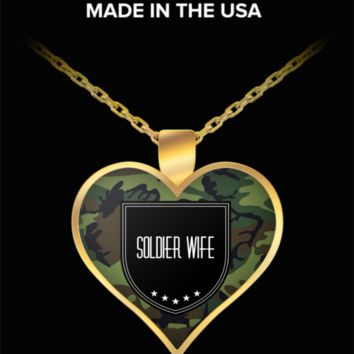 Soldier Wife Necklace - Proud Wife Of A Soldier  - Army Wife Jewelry - Gifts For Military Wife - Affirmation Necklace  - Proud Wife Of A Us Army Veteran