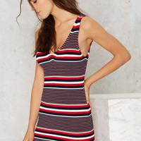V Neck, V Back Stripe Dress