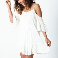 White Off Shoulder Crochet Ruffle Dress - LoveCulture