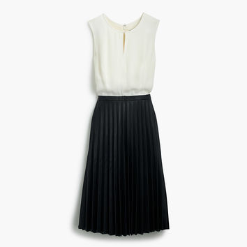Two-tone pleated combo dress - dresses & Jumpsuits -Women- J.Crew