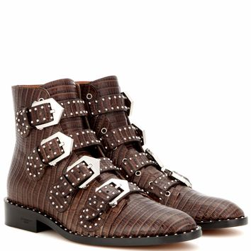 Elegant embossed leather ankle boots
