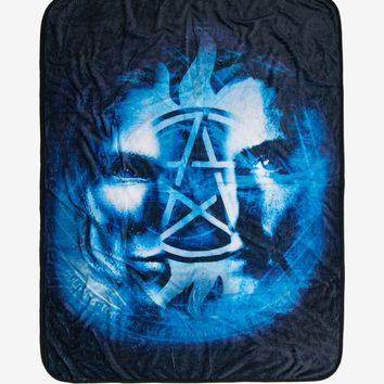 Licensed cool CW Supernatural Brothers Anti-Possession Symbol Sam & Dean Split Throw Blanket