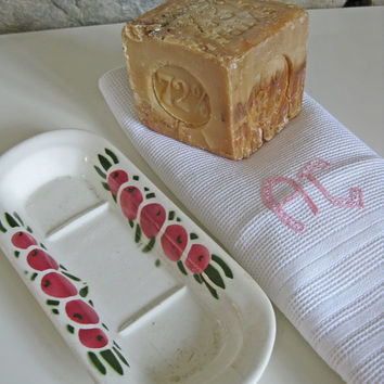 French bath decor, ceramic soap holder, cube soap and monogrammed hand towel