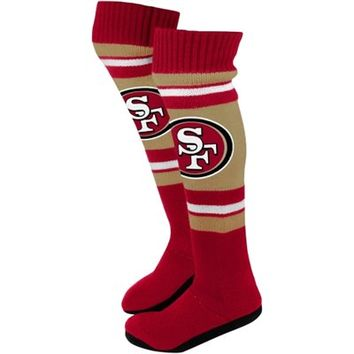 San Francisco 49ers Ladies Knit Knee Slipper Socks - Gold/Scarlet