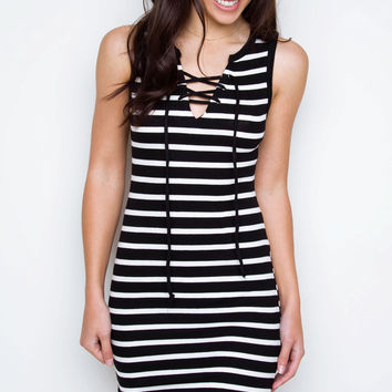 Love Letters Striped Lace Up Dress - Black