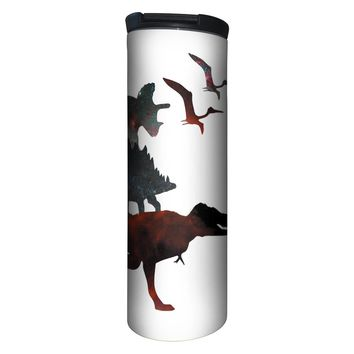 Dino Stack White Barista Tumbler Travel Mug - 17 Ounce, Spill Resistant, Stainless Steel & Vacuum Insulated