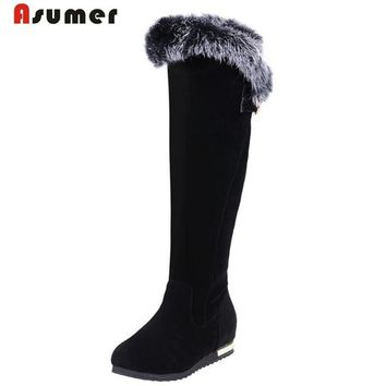 ASUMER - Knee High Faux Fur Upper Nubuckle Leather Boots*
