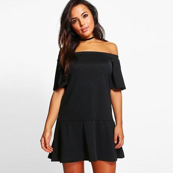 Summer western style fashion slim short flare sleeve neck  woman's Casual a-line dress