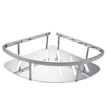 Polished Stainless steel 304 Single Bathroom Corner Triangular Tub and Shower Caddy Basket