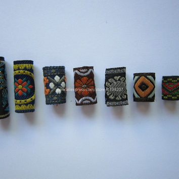 Free shipping 7Pcs/Lot mix fabric hair braid dread dreadlock beads clips cuff approx 8-12mm hole NO.06