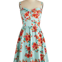 Stop Staring! Vintage Inspired Long Sleeveless Fit & Flare Posy Parlance Dress
