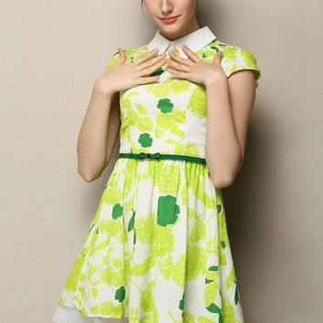 Green Printed Pointed Flat Collar Short Sleeve Belted Pleated A-Line Mini Dress