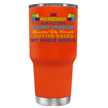 TREK An Amazing Smart Talented Kid with Autism on Vermilion 30 oz Tumbler Cup