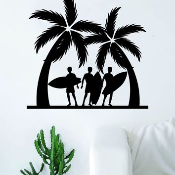 Surfers and Palm Trees Quote Decal Sticker Wall Vinyl Art Home Decor Decoration Teen Living Room Bedroom Sports Beach Ocean