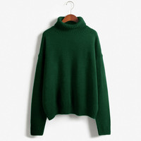 2015 Girl Autumn And Winter Turtleneck Sweater Thickening Batwing Sleeve Loose Pullover Korean Women Knitted Sweater Pullovers