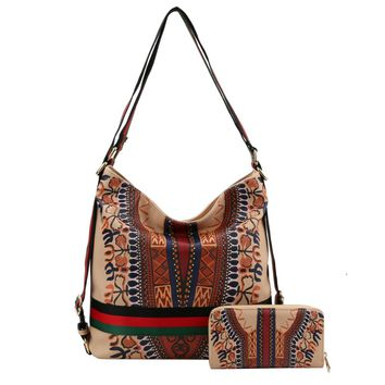 Gucci Style Cream Dashiki Print Vegan Leather Convertible Shoulder Bag/Backpack with Striped Detail and Matching Wallet