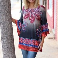 Where the Love Is Paisley Tunic ~ Charcoal