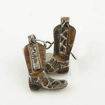 Cowboy Boot Fine Silver Earrings