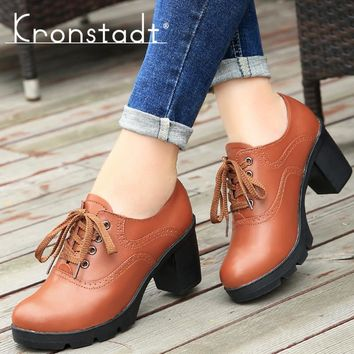 Kronstadt Women Brogue Shoes Leather cut outs Lace up Pointed Toe Thick Heels Female Pumps Spring Ladies Oxford Platform shoes
