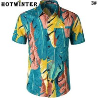 Summer Newest Hot Sale Men Casual 3D Digital Leaves Print Short Sleeve Beach Shirt Top 3#