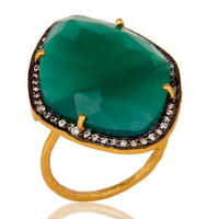 Natural Faceted Green Onyx Gemstone & CZ Sterling Silver Ring With Gold Vermeil